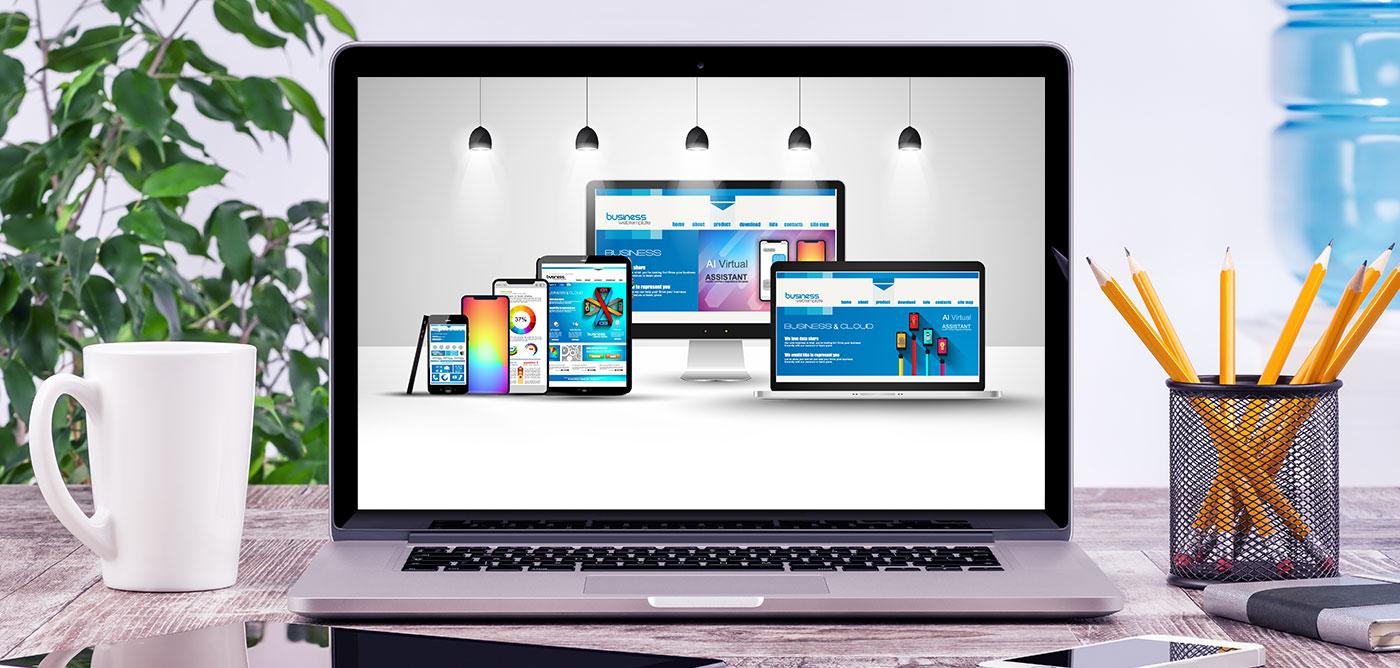 Laptop showing website design for desktop, laptop, tablet and mobile device